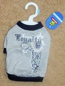 """NWT Top Paw """"Loyalty Dog"""" T-Shirt SMALL S Blue Gray"""