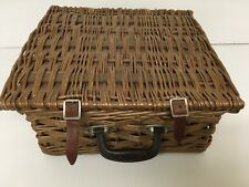 brexton Vintage picnic basket Classic Car Hotrod Sewing Box Camping Wine Basket