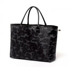BAPE A Bathing Ape Camo Leather Tote Shopper Big Bag Black Japan New