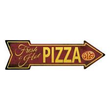 """Outdoor/Indoor Food Fresh and Hot Pizza Novelty Metal Arrow Sign 5"""" x 17"""""""
