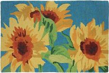 Sunflowers on Teal Rug by Homefires