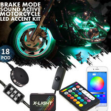 18pcs Motorcycle Led Light Kit Pods Accent Glow Neon Lamp Blue-tooth Controller
