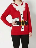Rue 21 Womens Ugly Christmas Hooded Sweater Santa Tunic With Hat Size XS