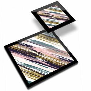 Glass Placemat  & Coaster - Pink Paint Stripes Art Style Graffiti  #16958