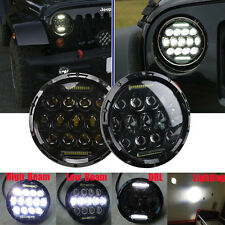 2X 7inch Round 75W Cree LED Projector Headlight H4 DRL H/LO For JEEP JK Wrangler