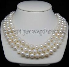 """Triple Strand 17"""" 18"""" 19""""  7-8mm AAA White pearl  necklaces 925 silver clasp"""
