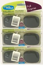 3 PACK Solar SHIELD CLIP ON Sunglasses FULL FRAME 53 SQU 2 W/ CASE FREE SHIPPING