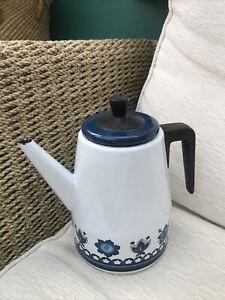 Vintage Retro 60s/70s Enamel Coffee Pot Floral Print Edging White & Blue