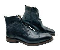 Johnston Murphy J&M 1850 Fullerton Cap Toe Boots Black Italian Calfskin Mens 13