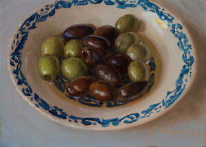 small original daily food painting a day realism still life olives 7x5 Y Wang