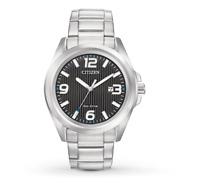 Citizen Eco-Drive Men's Black Dial Silver-Tone Bracelet 43mm Watch AW1430-86E