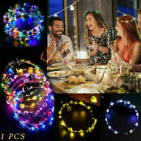 Party Glowing Crown Flower Headband Girls LED Lights Up Wreath Hairband Beauty