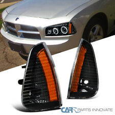 For Dodge 06-10 Charger Clear Replacement Front Signal Lamps Corner Lights Black