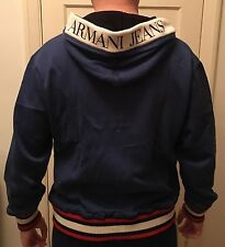Armani Jeans Designer Zip Up Hoodie, NWT, Custom Fit Italian, Navy, Size XL