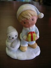 Little Girl with Gift & Snowman marked 5C13 Good Condition SEE PHOTOS