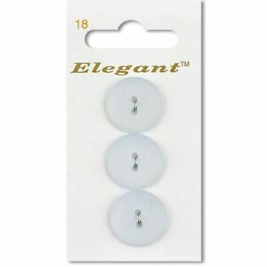 White 19mm Flat Round Buttons Sewing Craft Knitting 2 Holes (3 Per Card)