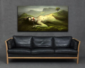 Life Model Woman Lady Naked Body In Landscape Modern Cool Canvas Print Wall Art