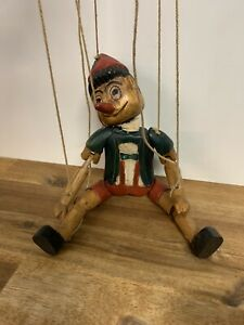 Vintage Wooden Hand Made Pinocchio Marionette String Puppet