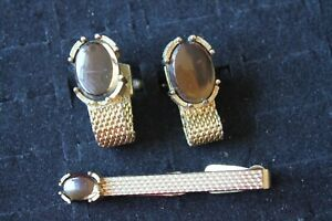 Swank Cuff Links and tie clip vintage Gold plated with brown glass stones