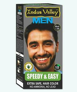 Indus Valley Speedy and Easy Hair Colour For Men Organic Hair Color Black 1.0 KU