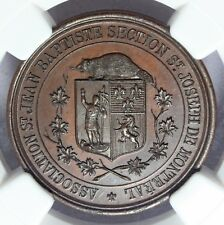 1800s Canada St Joseph Montreal School History Award Bronze Medal - NGC MS 64 BN