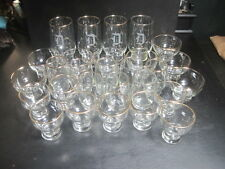 "Vintage  ""D"" Monogram  Set of 28 Gold Rimmed Glasses Glassware"