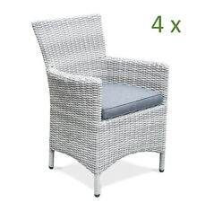 4x Hochwertiger Gartenstuhl Grau Polyrattan Aluminium Gartensessel Stuhl Garten