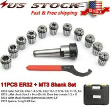 Precision Er32 Collet Set Mt3 Shank Chuck Amp Spanner Withbox For Milling Machine Us