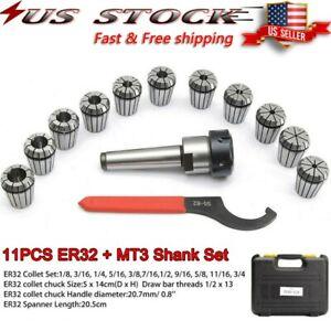 Precision ER32 Collet Set MT3 Shank Chuck & Spanner W/Box For Milling Machine US