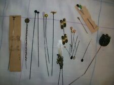 Antique Vintage Hat Pin Lot: Metal Glass Beaded Celluloid