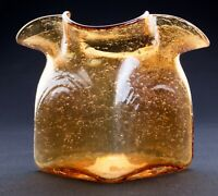 Mid Century Ruffled Glass Vase Amber Bubbles