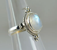 Rainbow Moonstone Ring 925 Solid Sterling Silver Handmade Jewelry Size F-Z1/2 UK