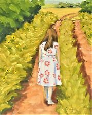 """""""8""""X10"""" Original Painting of a Woman walking by Ty Livingston"""