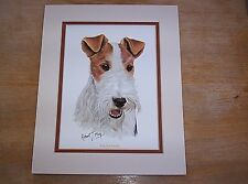 "Vintage Robert J. May Wire Fox Terrier Print Matted 8"" x 10"""