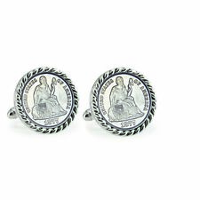 NEW Seated Liberty Silver Dime Silvertone Rope Bezel Coin Cuff Links 12718