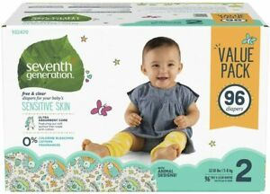 Seventh Generation Free and Clear Size 2 Baby Disposable Diapers Mega Pack - 96