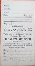 Mt./Mount Pleasant, PA 1889 Raffle/Prize Ticket - Watch, Clock & Lamp Prizes