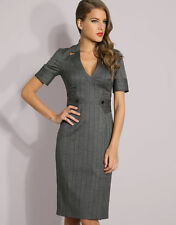 KAREN MILLEN EXQUISITE PINSTRIPE GREY GALAXY CORSET ULTRA RARE DRESS 10 BNWT