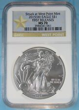 2015 (W) NGC MS70 SILVER EAGLE STRUCK AT WEST POINT FIRST RELEASES STAR LABEL