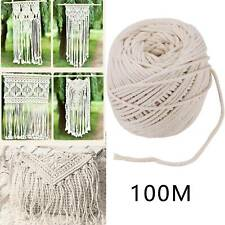 4mm Natural Beige Cotton Macrame Rope Twisted Cord Artisan Hand Craft 100M Y8
