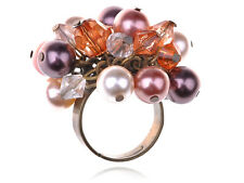 Fabricated Opal White Pearl Smoke Cluster Beaded Fashion Jelwery Ring Xmas Gifts