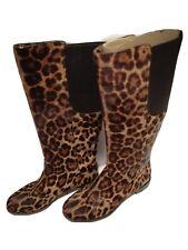 Dolce & Gabbana Leopard Skin Tall Boots Like New Faux Fur Size EU 38.5