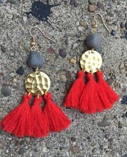 Handmade Red Tassel Brass Disc Sparkly Gray Druzy Bead Gold Hook Fringe Earrings