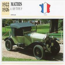 1922-1926 MATHIS 6HP / Type P Classic Car Photograph / Information Maxi Card