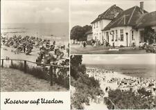 Koserow, Usedom, Bahnhof, Strandpartie, Strandkorb, DDR-Foto-Ak