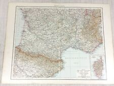 1898 Antique Map of France South Corsica Gulf of Lion 19th Century Victorian