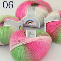 Sale Soft Cashmere Wool Colorful Rainbow Wrap Shawl DIY Hand Knit Yarn 50grx4 06