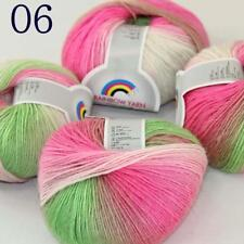 AIP Soft Cashmere Wool Colorful Rainbow Wrap Shawl DIY Hand Knit Yarn 50grx4 06
