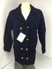 Hand loomed Vintage Import Virgin Wool women's sweater blue gold buttons Nwt S/M