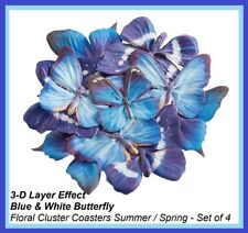 New listing 3-D Layer Effect Blue & White Butterfly Floral Cluster Coasters Summer / Spring